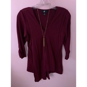 Flowy Red Blouse with Necklace